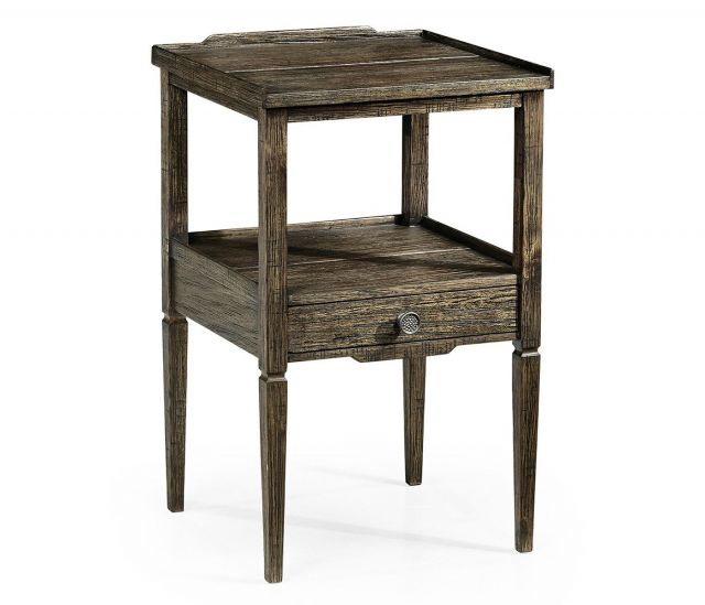 Jonathan Charles Square Lamp Table Rustic with Drawer