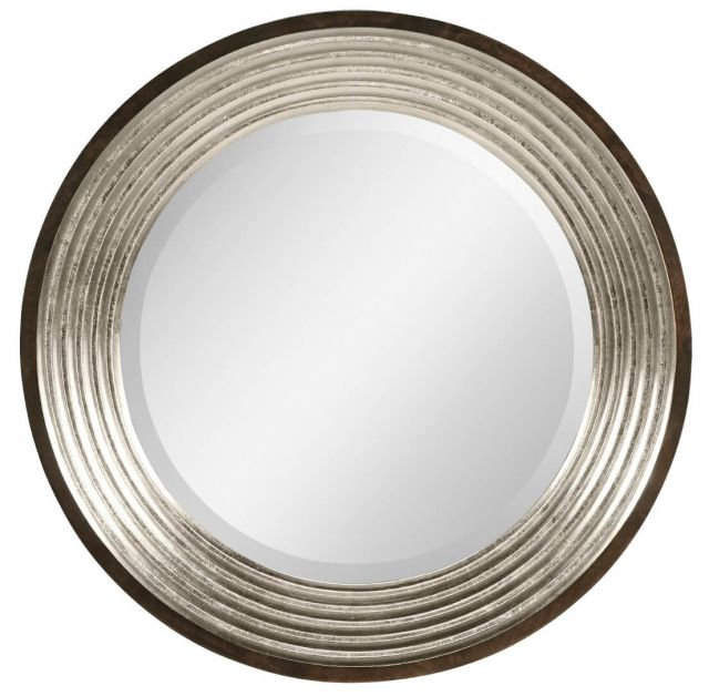 Jonathan Charles Silver Espresso Round Wall Mirror