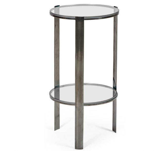 Jonathan Charles Black Nickel Side Table with Glass Top