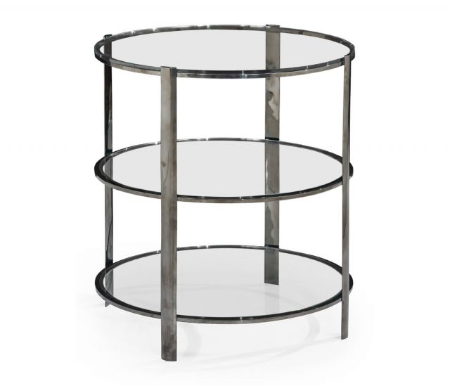 Jonathan Charles Black Nickel 3 Tier End Table with Glass Top