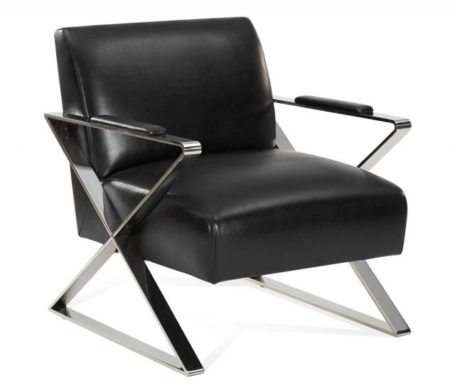 Jonathan Charles Wisconsin Accent Chair in Black Leather