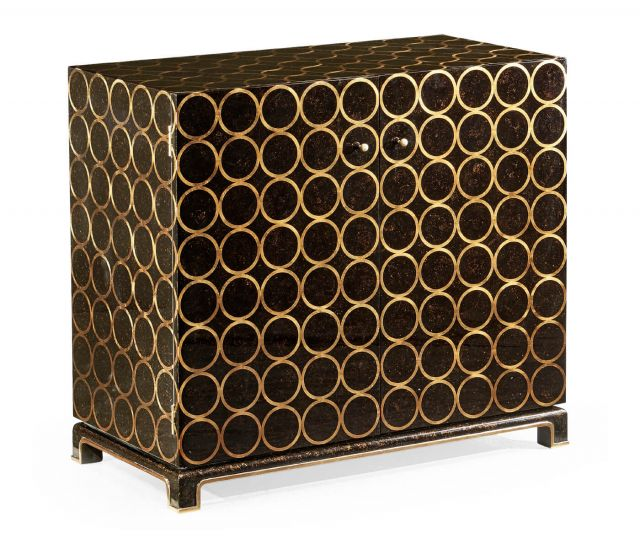 Jonathan Charles Tortoise Gilded Circles Storage Cabinet