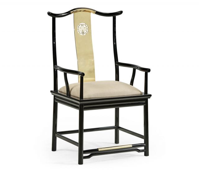Jonathan Charles Asian Fusion Dining Armchair Black Gloss