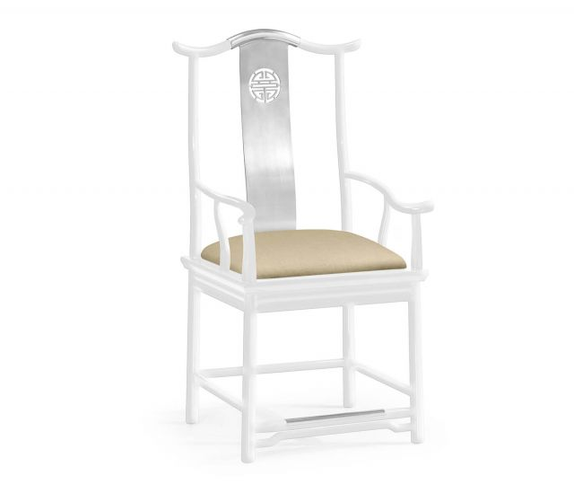 Jonathan Charles Asian Fusion Dining Armchair White Gloss