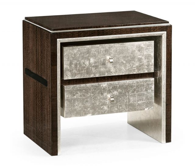 Jonathan Charles Silver Espresso Bedside Cabinet