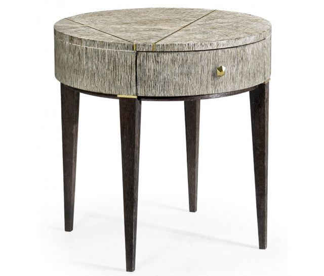 Jonathan Charles Transitional Round Side Table with Drawer