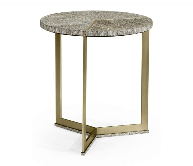 Jonathan Charles Transitional Oak & Brass Round Side Table