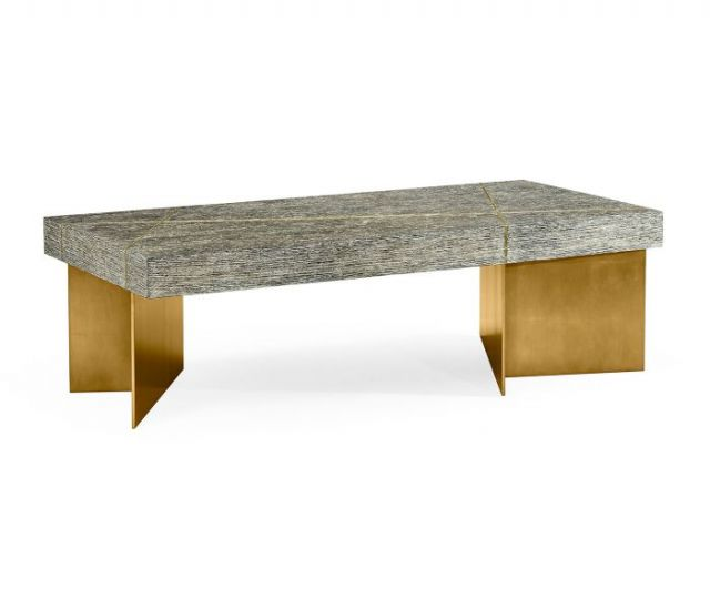 Jonathan Charles Transitional Oak & Gilded Coffee Table