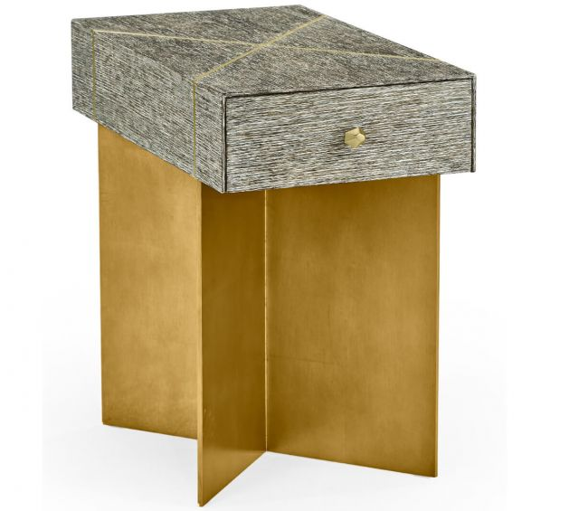 Jonathan Charles Transitional Oak & Gilded Side Table