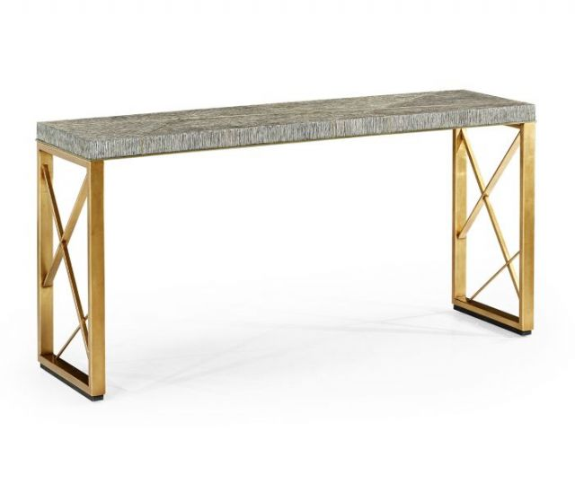 Jonathan Charles Transitional Oak & Gilded Console Table