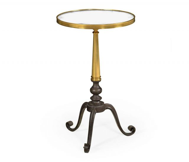 Jonathan Charles Round End Table with Antique Mirror Top