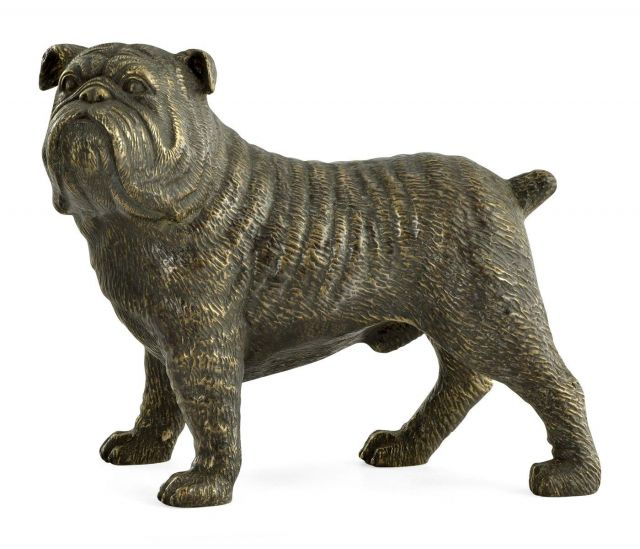 Jonathan Charles Bulldog Ornament in Antique Bronze