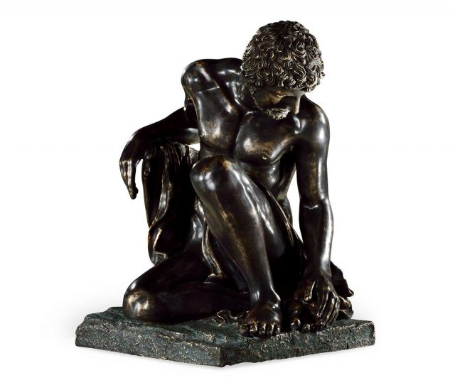 Jonathan Charles Greek Statue in Antique Bronze