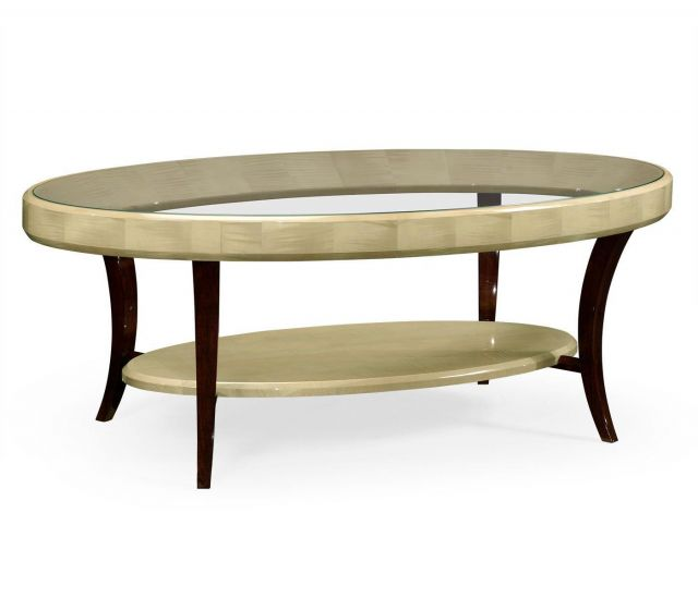 Jonathan Charles Oval Coffee Table Art Deco with Glass Top