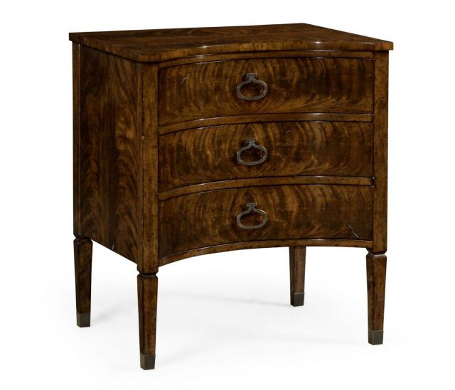 Jonathan Charles Bedside Chest Sheraton Bow Front