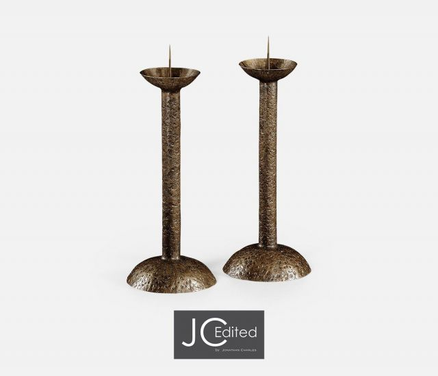 Jonathan Charles Candlestick Industrial Set of 2