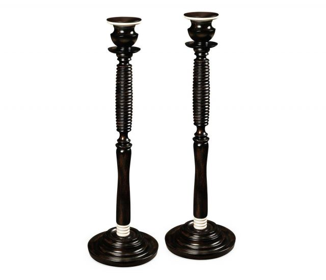 Jonathan Charles Candlesticks Classical Set of Two in Charcoal