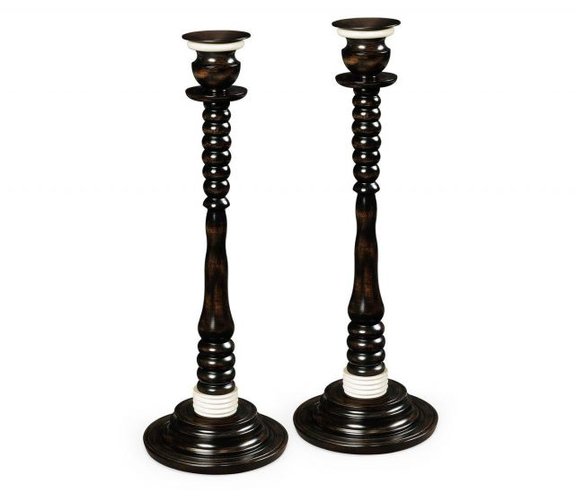 Jonathan Charles Candlesticks Set of Two in Charcoal