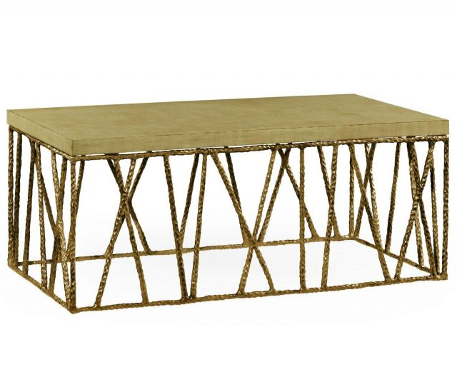 Jonathan Charles Coffee Table Hammered with Celadon Top
