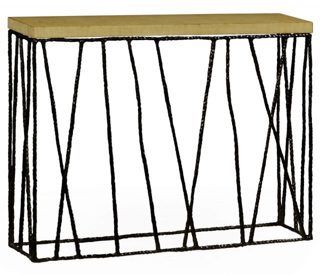 Jonathan Charles Console Table Hammered with Celadon Top