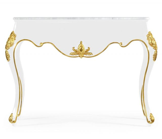 Jonathan Charles Console Table Monaco in White Lacquer