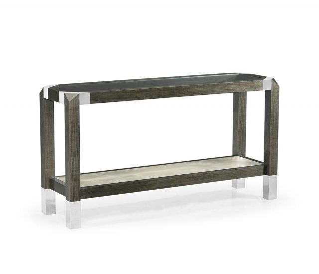 Jonathan Charles Console Table Grey Walnut with Glass Top