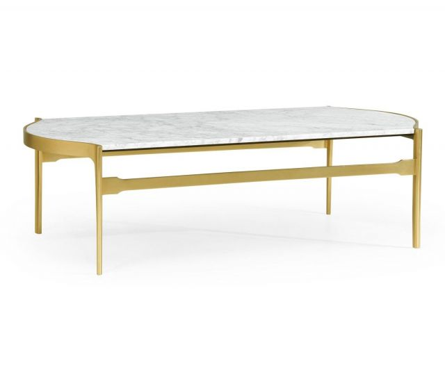 Jonathan Charles Curved Coffee Table with White Carrara Marble Top