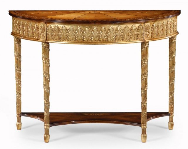 Jonathan Charles Demilune Console Table Neoclassical