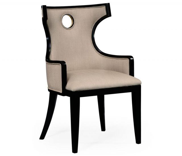 Jonathan Charles Dining Chair with Arm Greek in Black