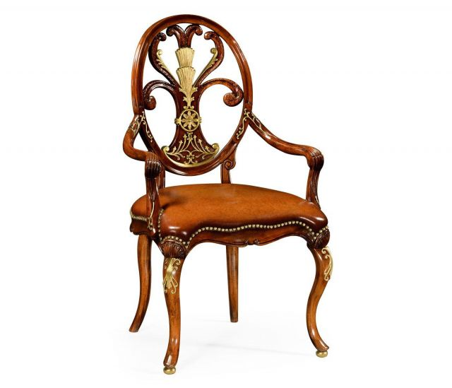 Jonathan Charles Dining Chair with Arms Carving