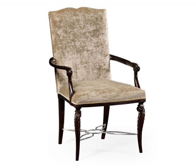 Jonathan Charles Dining Chair with Arms Feather Inlay
