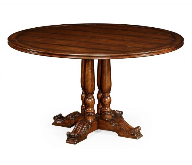 Jonathan Charles Round Dining Table French in Distressed Walnut