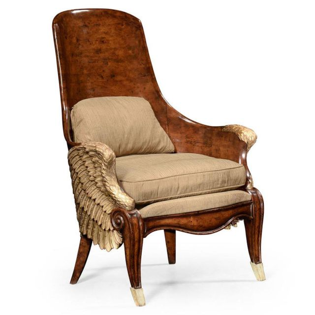 Jonathan Charles Winged Armchair Empire in Mazo