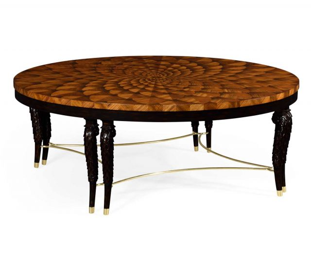 Jonathan Charles Round Coffee Table with Feather Inlay