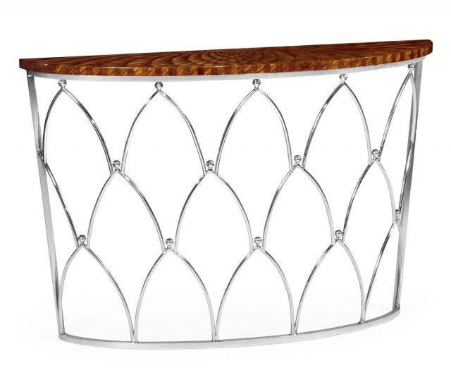 Jonathan Charles Demilune Console Table with Feather Inlay