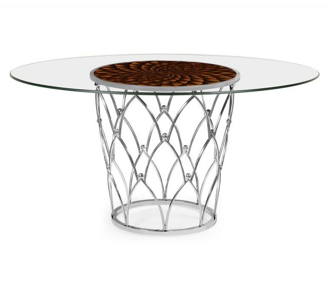 Jonathan Charles Round Dining Table with Feather Inlay