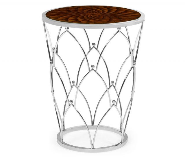 Jonathan Charles Round Side Table with Feather Inlay
