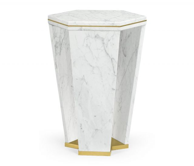 Jonathan Charles End Table Hexagon in White Calcutta Marble