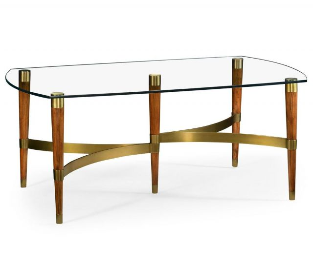 Jonathan Charles Coffee Table with Glass Top Italian 1950s
