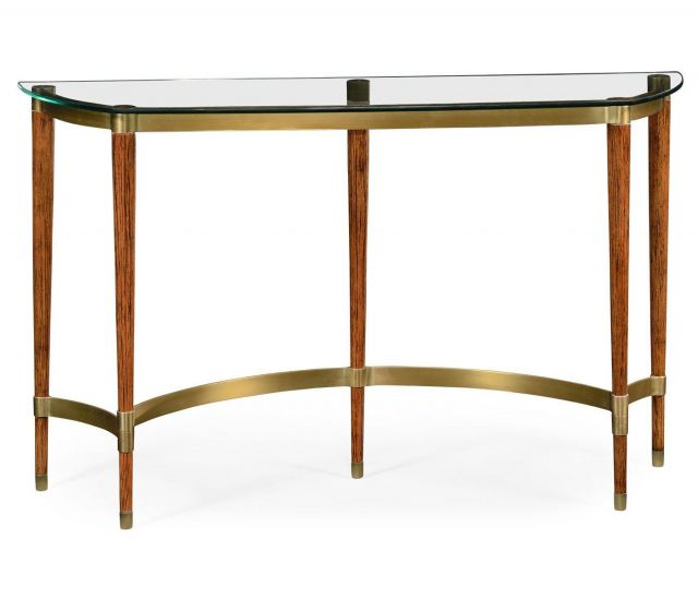Jonathan Charles Console Table with Glass Top Italian 1950s