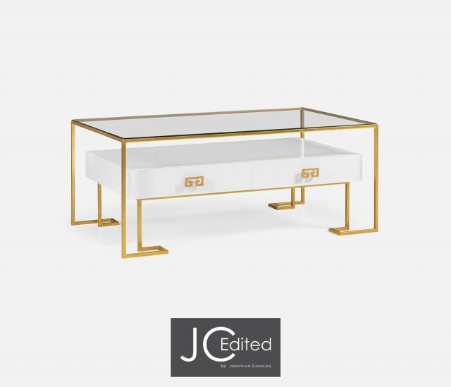 Jonathan Charles Coffee Table Hestia with Drawer in White