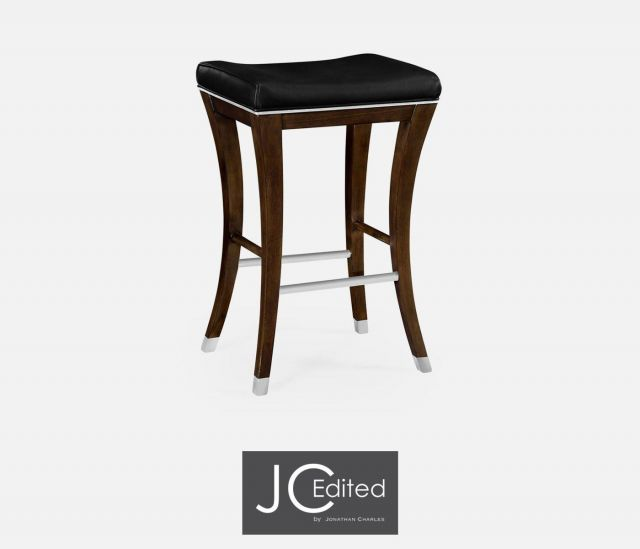 Jonathan Charles Counter Stool American Walnut in Leather