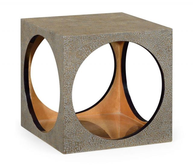 Jonathan Charles Square Stool Cut Out in Plateado Snakeskin