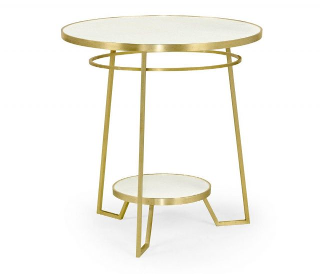 Jonathan Charles Round End Table Crackle Ceramic Lacquer