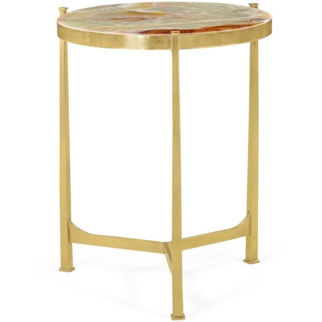 Jonathan Charles Medium Round Lamp Table with Brass Base