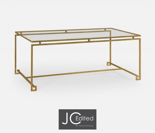 Jonathan Charles Rectangular Coffee Table Hestia in Gold
