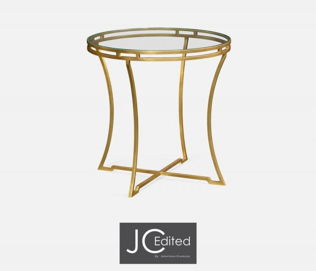 Jonathan Charles Round Side Table Hestia in Gold