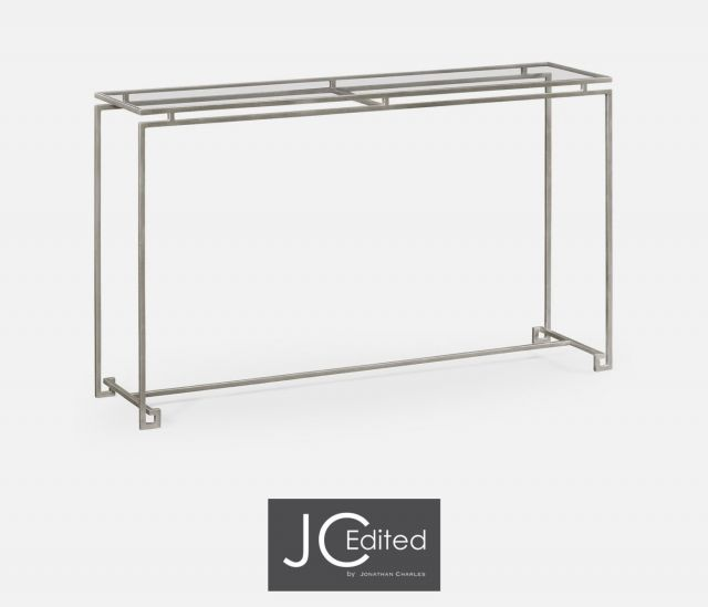 Jonathan Charles Large Console Table Hestia in Silver