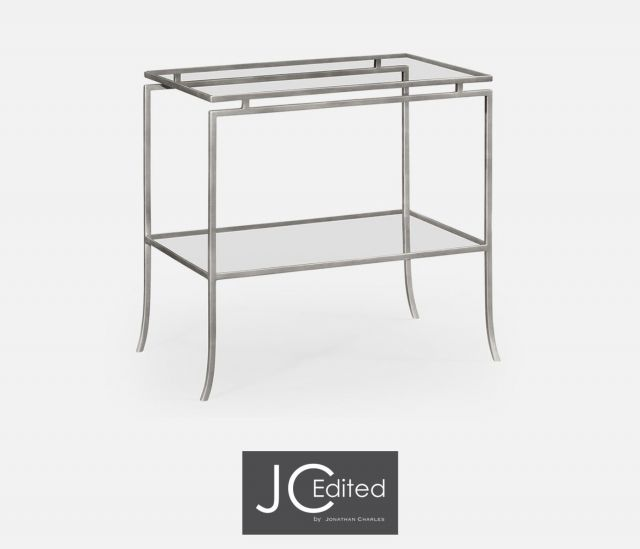 Jonathan Charles Rectangular Side Table Hestia in Silver