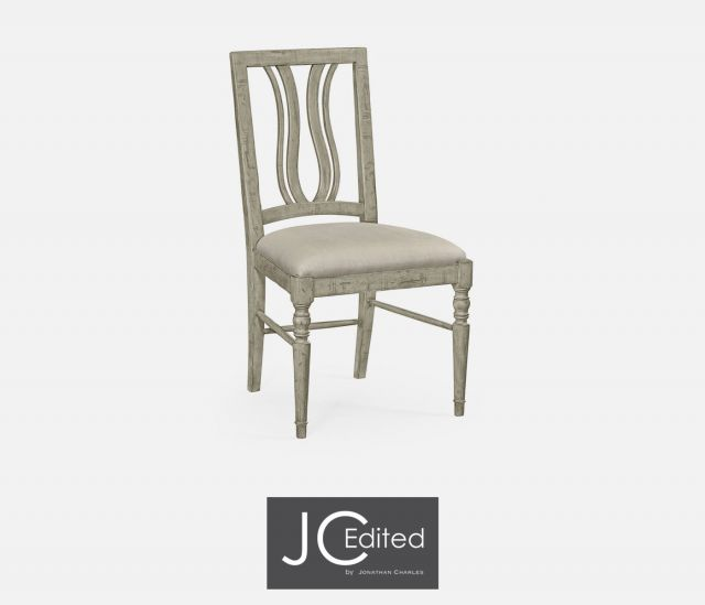 Jonathan Charles Dining Chair Rustic Curved Back in Mazo Fabric